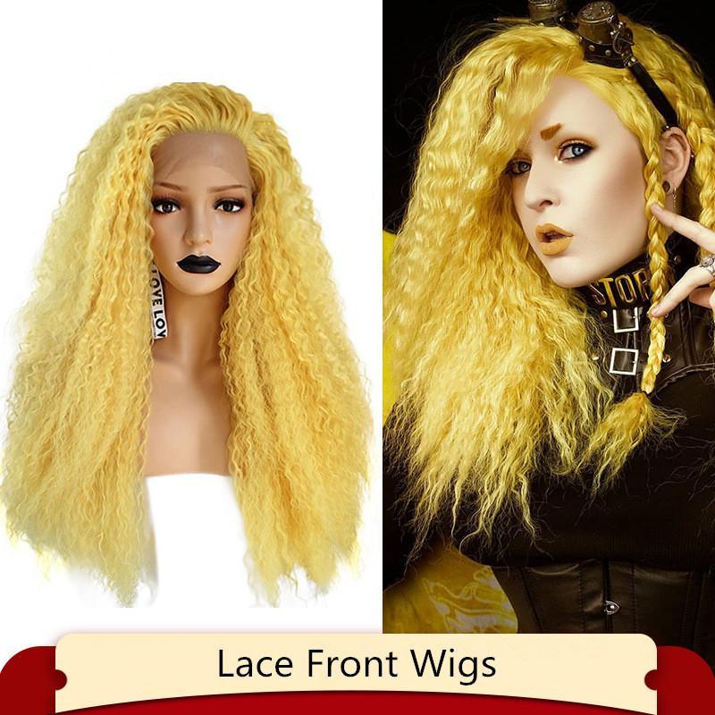 26 بوصة الدانتيل الاصطناعية الجبهة الأمامي الباروكة الأفرو غريب مجعد موجة عميقة pelucas محاكاة الشعر البشري الباروكات LS-444