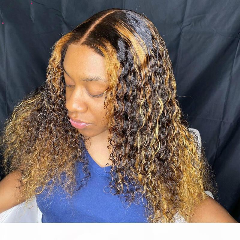 13x6 곱슬 머리 꿀 금발 금발 ombre 하이라이트 레이스 프론트 인간의 머리 가발 전체 360 레이스 정면 가발 PU 실크베이스 폐쇄 180 % 레미