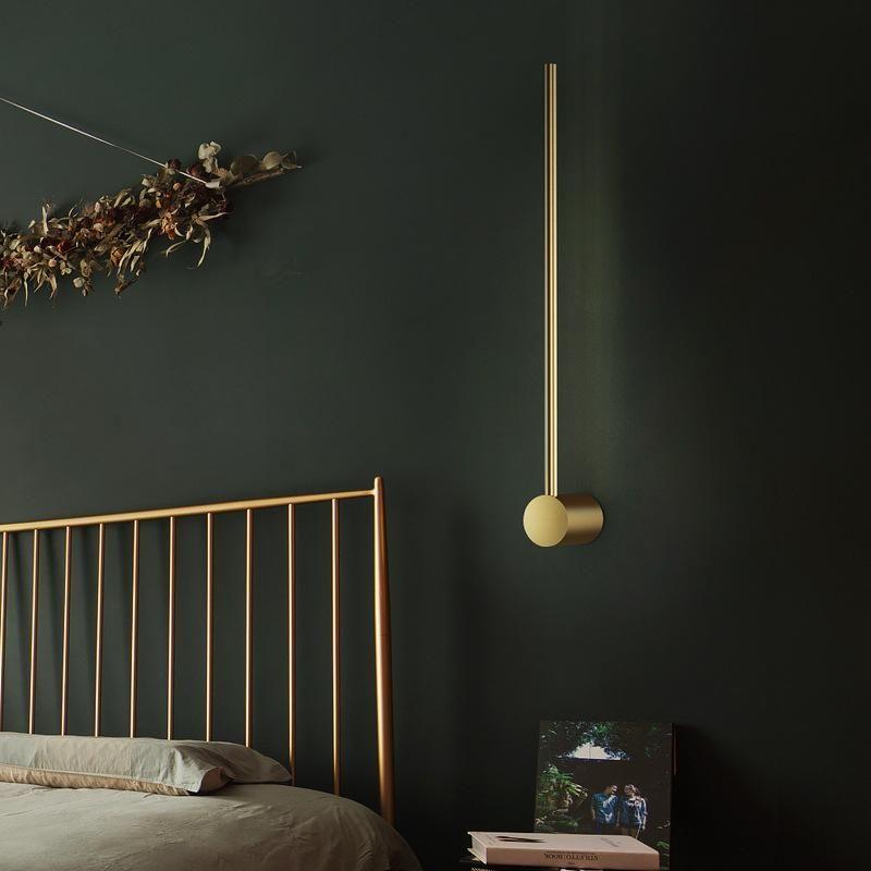 Lámpara de pared Minimalista Nórdica Post-Modern Lineal Creative Strip LED Dormitorio Lámpara de noche Lámpara de cama Sala de estar TV Fondo de pared