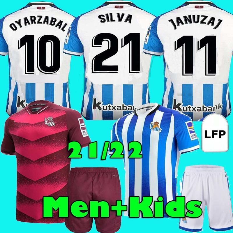 21 22 Real Sociedad de fútbol Jerseys 2021 2022 Camisetas de Fútbol Portu Willian J. Silva Oyarzabal Merino Isak Men Kit Kit Kit Home Away Football Shirts