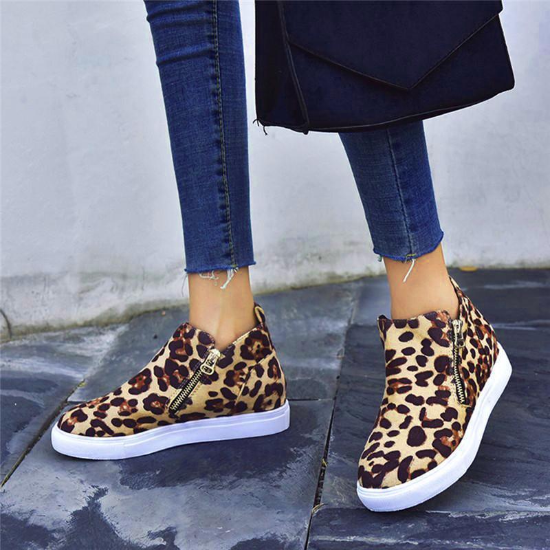 النساء الخريف الأحذية ليوبارد طباعة سستة الإناث عارضة الشقق الأحذية جولة تو الأزياء الخياطة أحذية الكاحل