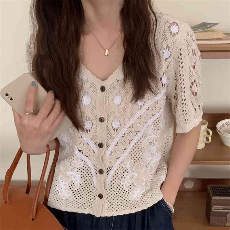Frauen Blusen Shirts V-Ausschnitt Kurze Ärmel Chic aushöhlen sexy bequemes patching femme lose kurze süße lässig jl1y
