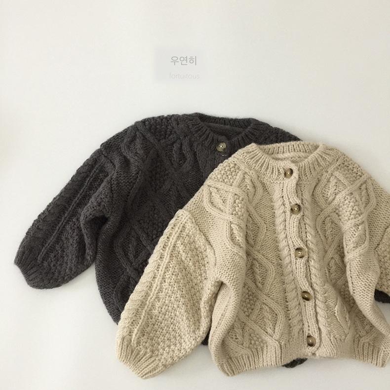 WD INS Toddler Korean Kids Boys Girls Cardigan Unisex Spring Long Sleeve Sweater Cardigan Kids Long Length Winter Clothes Sweaters