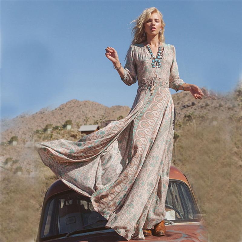 Женское летнее утуристущее Сплитское платье три qureter рукав V-образным вырезом Boho Chiffon Prty Вечерние платья Beh Beh Длинные MXI Платье Sundress