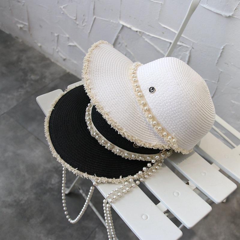 صافي سلسلة اللؤلؤ الأحمر بور سترو قبعة المرأة ركوب قبعة بطة اللسان الصيف عطلة صن قناع الشاطئ