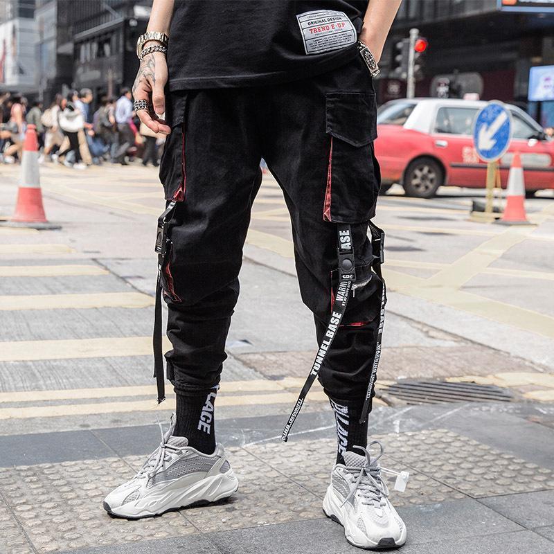 Herrenhose 2021 Joggers Fracht für Männer Casual Hip Hop Hit Farbe Tasche Männliche Hose Sweatpants Streetwear-Bänder Techniker