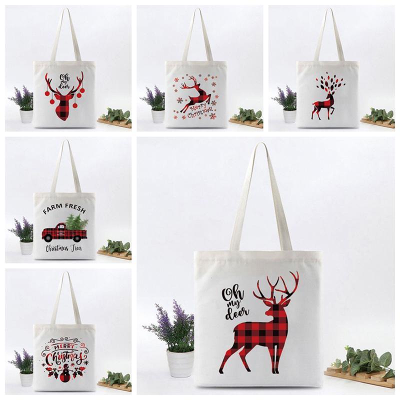 Santa Impresión Sacos Navidad Bolsa de arpillera Bolsa de arpillera Bolsas de hombro niños cordón grande tamaño Navidad fiesta decorati zxftl0112