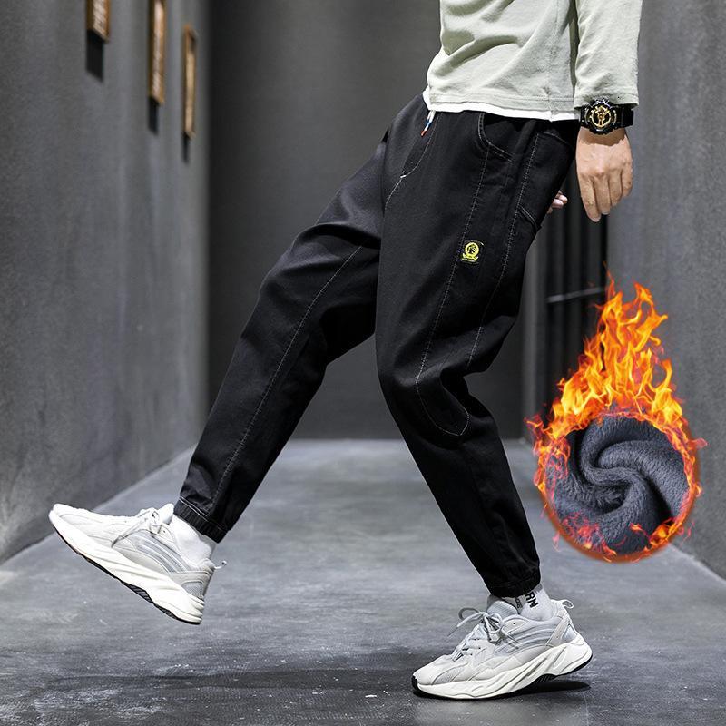 Peluche da uomo 2021 New Trend Fashion Student Jeans Autunno inverno Pantaloni in vita elastici