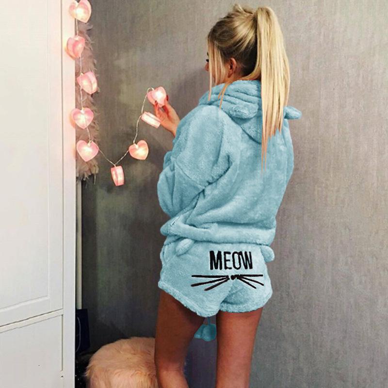 인쇄 긴 고양이 풀오버 후드가있는 잠옷 Meow 슬리브 반바지 잠옷 세트 수면 탑 바닥 여성 속옷 Nixh74ap