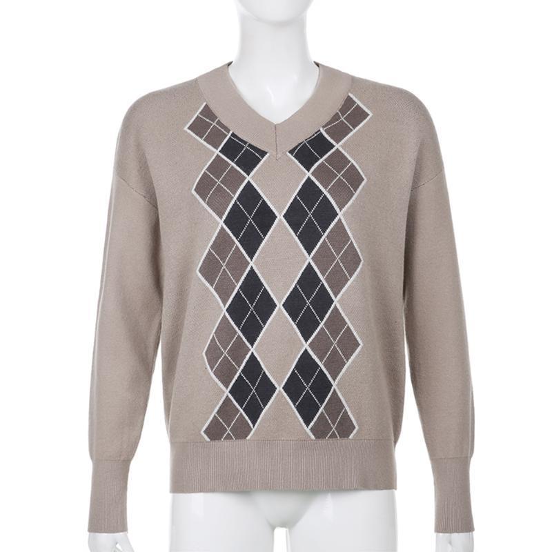 Suéteres de mujer Plaid coreano Y2K Jumper de manga larga de manga larga suéter de punto Moda Rhombus impresión de otoño
