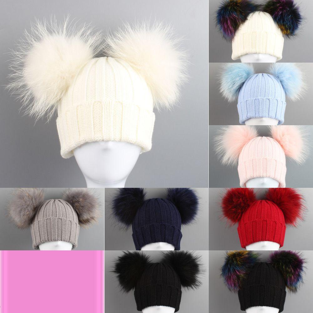 2019 Vieeoease Boys Girls Hats Cute Raccoon Ball Caps Europe and America Fashion Knitting Hats CC-212 4LB5P