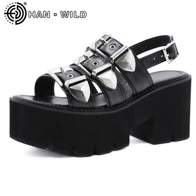 Мода пряжка женщин сандалии летняя мода готический панк туфли платформы женщины гладиатор сандалии открытые пальцы женской обуви