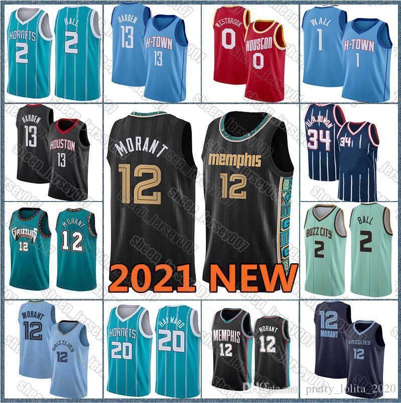 JA 12 Morant Jersey Lamelo 2 Ball Gordon 20 Hayward Jersey John 1 Wall Hakeem 34 Olajuwon 13 Harden Russell 0 Westbrook Basketball