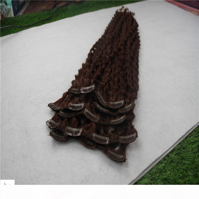 Mittelbraune farbe brasilianische kinky lockige haarklammer in menschlichen haarverlängerungen 8 stücke set verlängerung 10-30 inms 100% brasilianisches menschliches haar