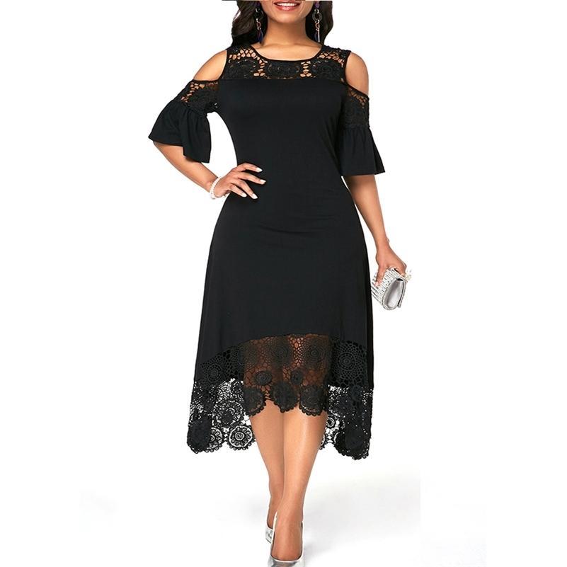ICCLEK S-7XL Plus Size Kleid Spitze Nähte Abend Party Sommer Maxi Frauen Kleid Große Damen Kurzarm Blumen Elegante 210315