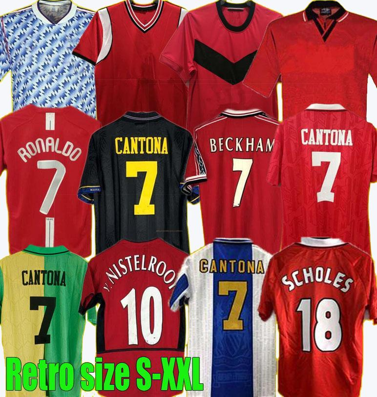 90 92 94 96 98 99 Retro United Rooney Ronaldo 07 08 Jersey de fútbol 85 Keane Scholes Football Giggs Shirt Beckham Manchester Cantona