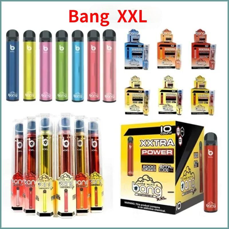 BANG XXL Dispositivo di penna vape monouso Bang XXL Sigarette elettroniche Kit di avviamento 2000 Sfuffs 800mAh Batteria di alimentazione Pre-riempita 6ml Pods Cartridge Cartridge Original Vapori all'ingrosso