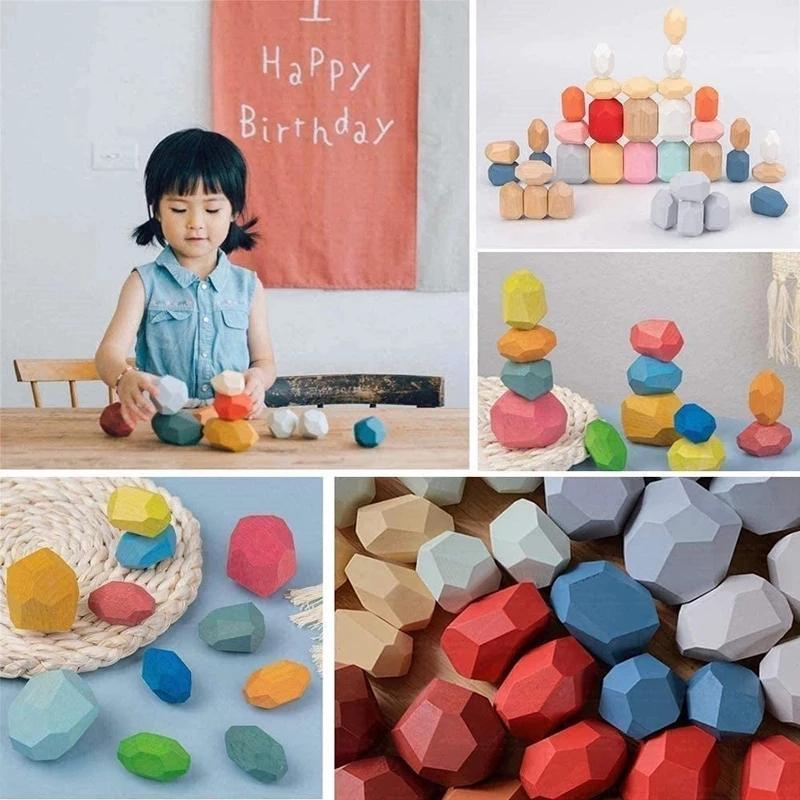 Children's Woodens Colored Stone Jenga Building Block Educational Toy Creative Nordic Style Stacking Game Rainbow Wooden Toys Gift