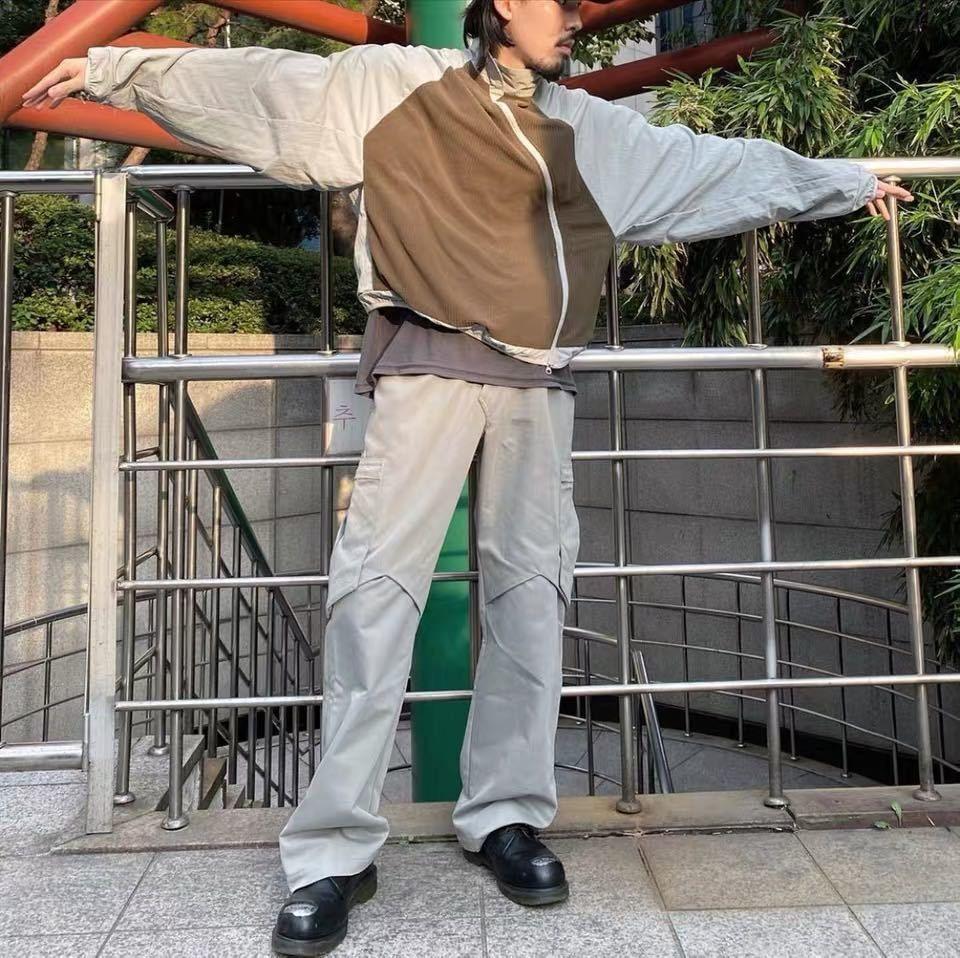Kiko Kostadinov 20fw argento grigio cerniera con cerniera in pelle scamosciata multi tascabile