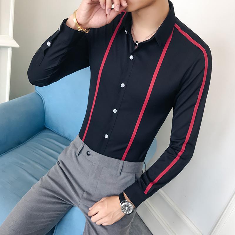 2021 Новые рубашки плюс размер 5XL повседневная тонкая мужская фитинга черный белый рукав длинный британская мужская рубашка ChemaMe Homme I5M7