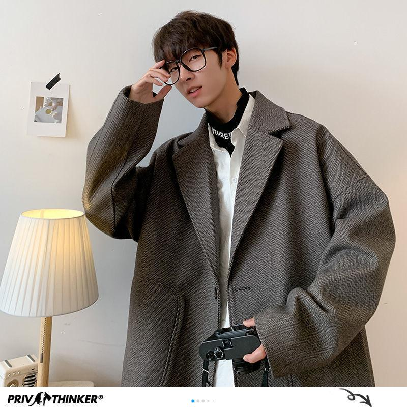Neue 2021 Privathinker Korean Übergroße Jacken Herbst Harajuku Mann Casual Mantel Streetwear Männer Mäntel Plus Größe QP4S
