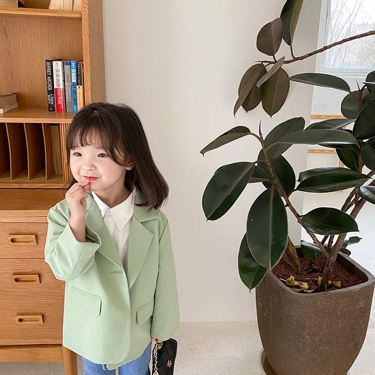 AMBB New INS Kids Boys Girls Blazer Outwears Girls Coat Casual Kids Blazers Autumn Cotton Full Sleeve Girls Jacket