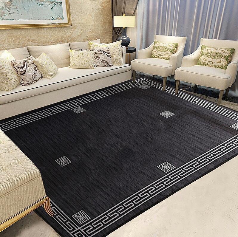 Free Shipping Black Carpet Super Big Coffee Shop Clothing Store Carpet New Designer Black And Grey Non-slip Mat Fashion Rug