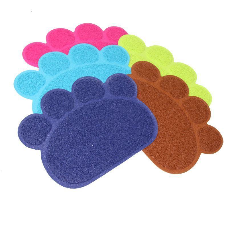 Pfotenform Hund Katze Fütterung Matte Pad Haustier Teller Schüssel Lebensmittel Wasserzufuhr Tischsat Tisch PVC 30 cm x 40 cm
