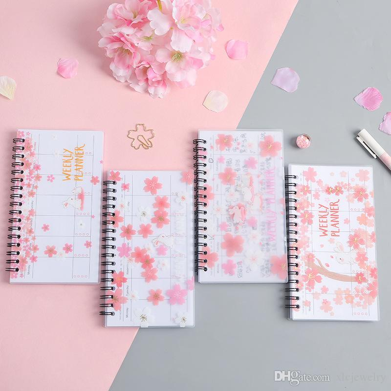 Planner 2020 2021 Agenda A6 Notebook Portable Diary Pink Journal Weekly Monthly School Supplies Organizer Schedule Stationery