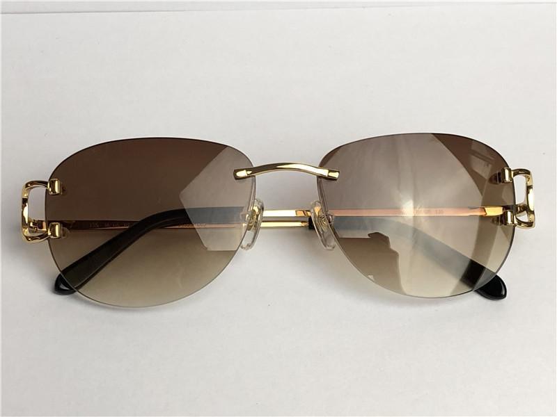 Color Venta más vendida 0102 Gafas de sol Marco Gafas redondo Sin marco Retro Avant-Garde Diseño Vintage Luz Eyewear Decorativo 21s