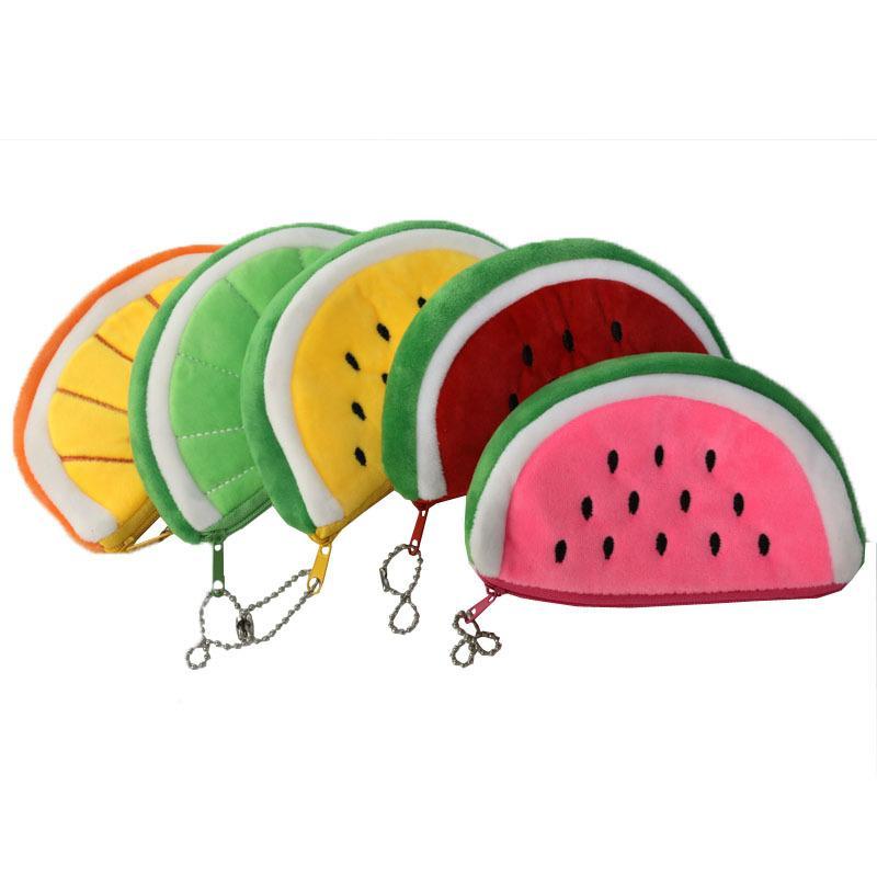 Creative Fruit Fruit Moeda Moeda Bolsa Dos Desenhos Animados Crianças Zíper Lápis Casos Carteira Saco de Armazenamento Portátil Keychain Gift DHL grátis