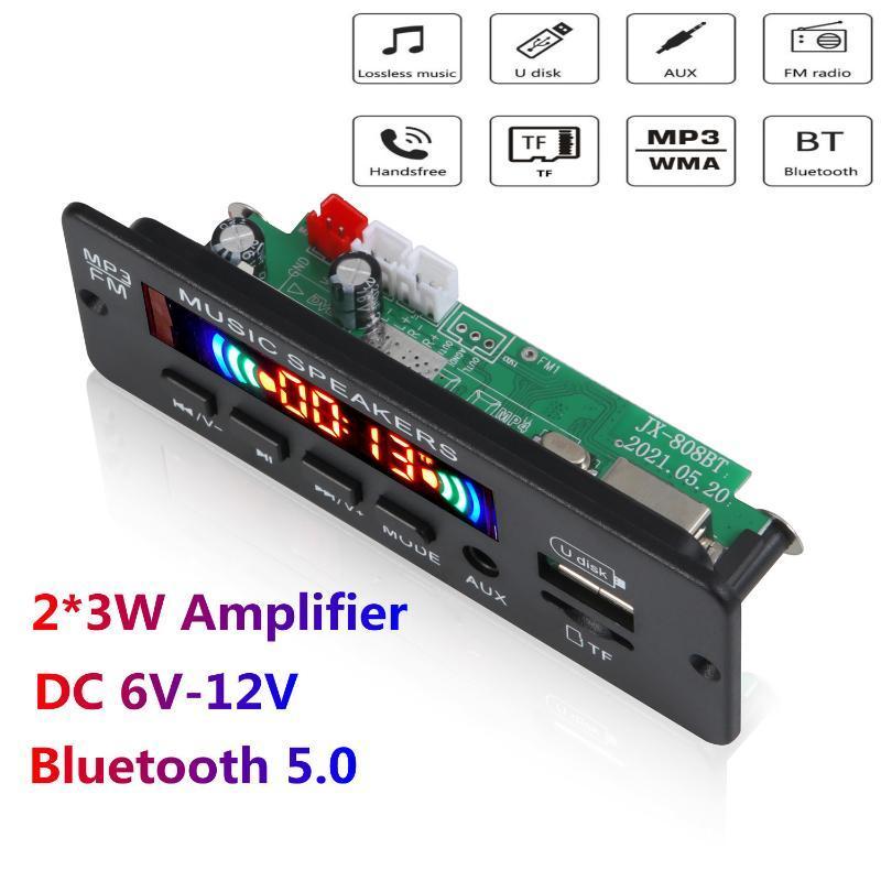 MP4 Players Bluetooth 5.0 MP3 Player Decoder Board 2 x 3w Speaker FM Módulo de Rádio 12V TF USB Aux Auxam para Carro Handsfree