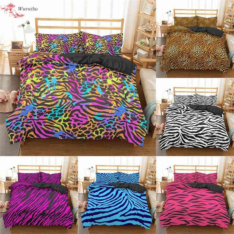 Homesky Luxury Leopard Print Bedding Sets Duvet Cover Twin Full Queen King Size Bed Soft Comforter Bedclothes 210821