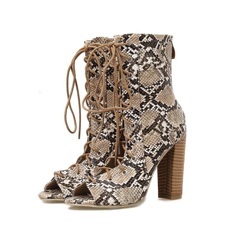 2021 Neue Dongcitaci Herbst Frauen Mid-Calf Boots Schuhe Frau High Heel Pumps Snake Muster Leder Schnüre Kurzer Bootie 35-40 B4lx