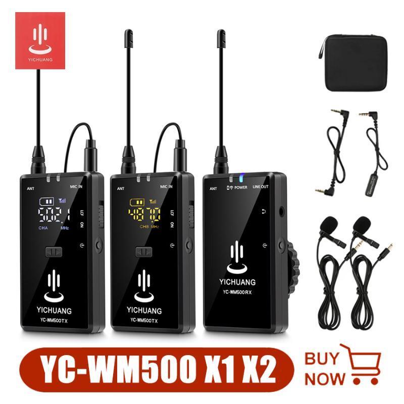 YICHUANG WM500 X1 X2 Kablosuz Lavalier Mikrofon Seti Ile Alıcı ve Verici DSLR Kamera Smartphone Tablet Kamera Için