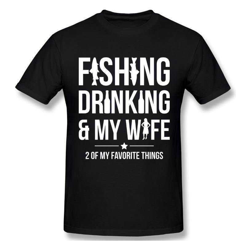 남성용 티셔츠 낚시 마시고 내 아내 Tshirt 남자 티셔츠 셔츠 셔츠 코튼 여름 탑스 티셔츠 짧은 소매 티셔츠 티셔츠 여자