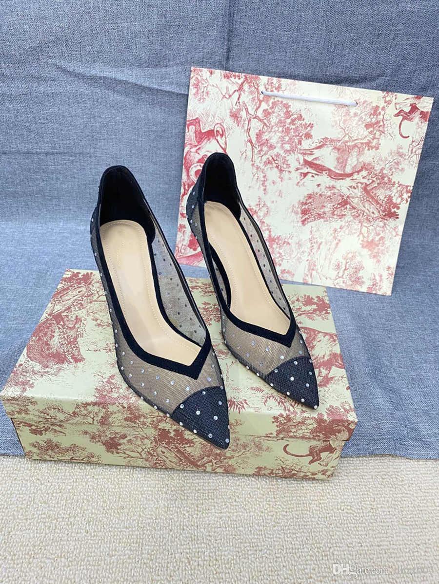 Dior Top de alta calidad Nuevos tacones altos Sandalias Tacón medio mujer Diseñador de ropa de vestir zapatos de vestir zapatos de verano Sandalias apuntadas sexy 08