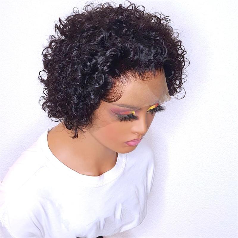 Parrucche di pizzo corto jerry ricci pixie taglio capelli umani per le donne chiusura malese precipitata profonda t parti remy