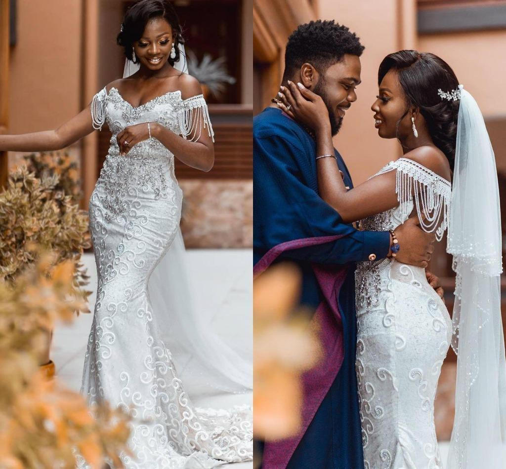 Luxury Crystals Lace Mermaid Wedding Dresses Elegant Off the Shoulder Tassle Sweep Train Custom Made Plus Size Country Wedding Gown vestido