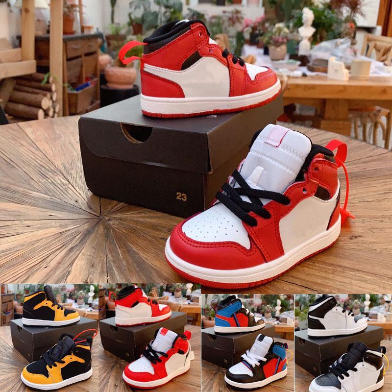 2021 Klasik 1 Chicago Kırmızı Orta Dantel Up Kaykay Çocuk Erkek Kız Çocuk Gençlik Basketbol Spor Ayakkabı Paten Sneaker Boyutu EUR24-35