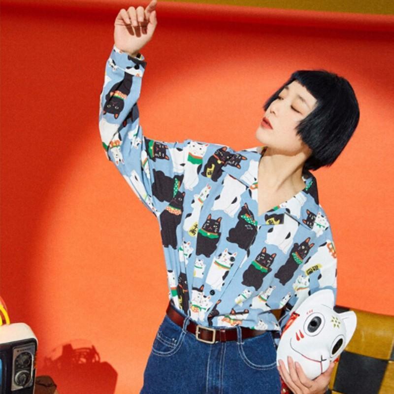 Chemise de style japonais Tops de dessin animé imprimé chemise à manches longues décontractée