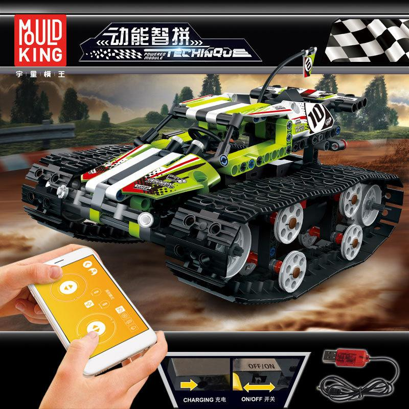 YX Car with Caterpillar Track Building Block, DIY Electric Remote Control Toy, Programmable, for Kid' Birthday Party Christmas Gift