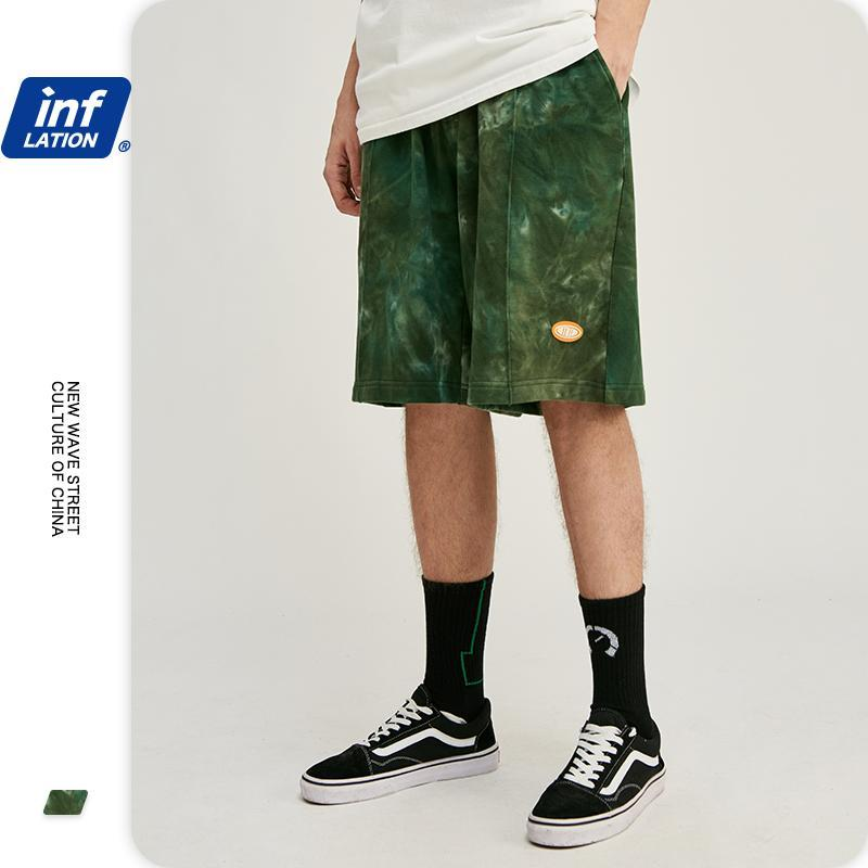 Männer Shorts Inflation Männer Krawatte Farbstoffkompression mit elastischer Taille lose Fit Harem Hosen Baumwolle schweißkürzer