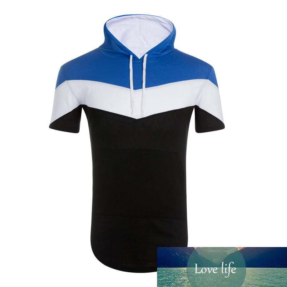 1hip hop casual short-sleeved hoodie color stitching T-shirt men's fashion hooded mens design long sports hoodies