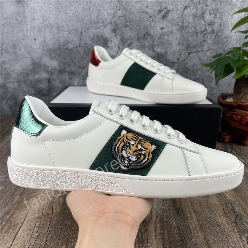 2021 Erkek Kadın Sneaker Rahat Ayakkabılar Düşük Üst İtalya Ace Arı Çizgili Ayakkabı Düz Deri Yılan Tiger Yürüyüş Spor Trainers Chaussures Yayın Hommes