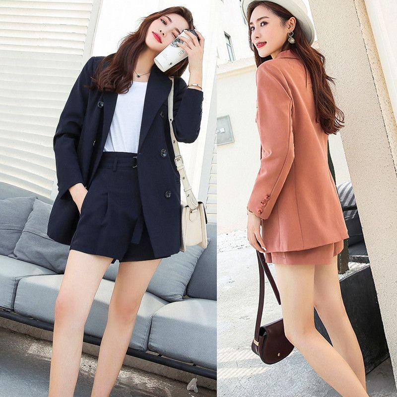 Takım elbise çift göğüslü kollu bayanlar ceketli basit şort 2 parça kadın kıyafetleri tanımlar 9fj7