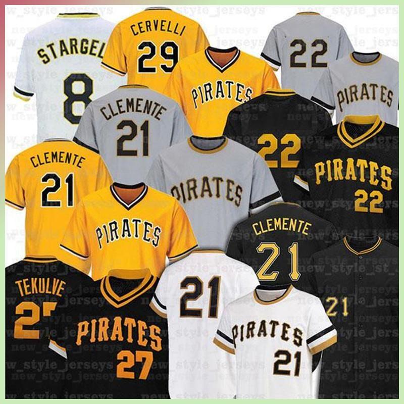 21 Roberto Clemente 27 Kent Tekulve 29 Francisco Cervelli 8 Willie Stargell 6 Starling Marte Collection Malla de malla de béisbol Z5
