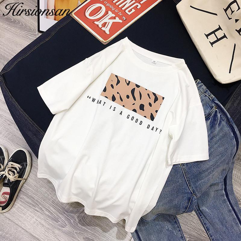 Hirsionsan Leopar Baskı T Shirt Kadınlar İlkbahar Yaz Sıcak Tees Rahat O-Boyun Kısa Kollu Harajuku Serin T-shirt Kadın Tops 210312