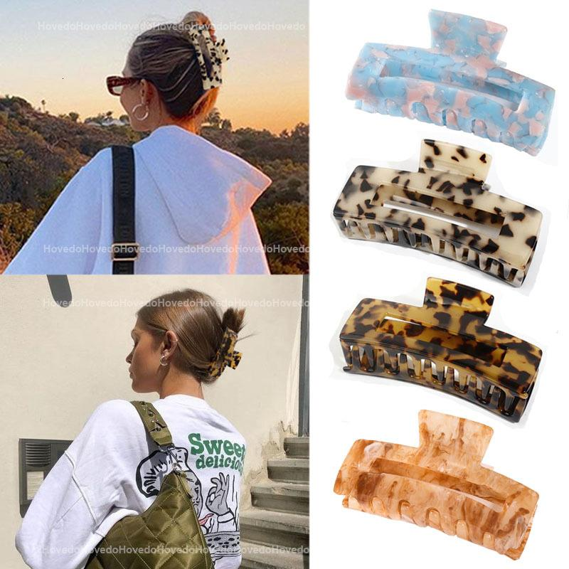Graws d'acétate géométrique de haute qualité Grand Crabs carrés Clip Feuilles de grain léopard pour les femmes Accessoires pour cheveux