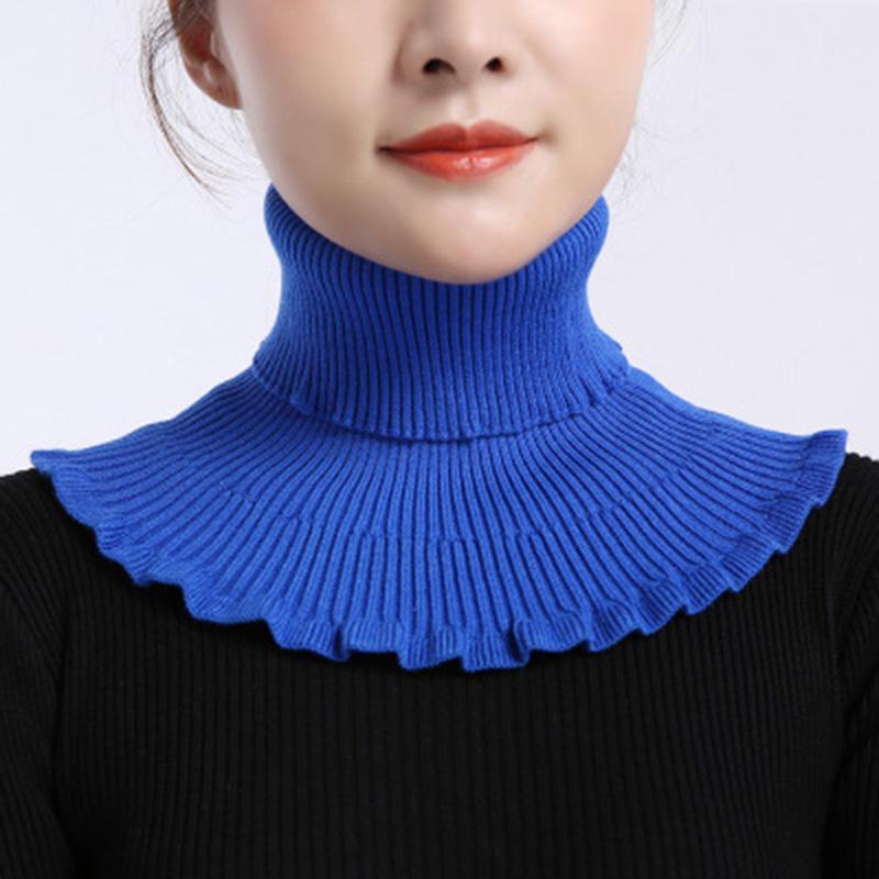 Шарфы унисекс твердые оборудованные эластичные шерстяные вязать пуловер ложный колхоза теплый шарвы зима женские велосипедные ветрозащитные шеи охраны шарф